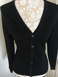 Pure Collection Cashmere Cardigan 12 Black With Sparkle Thread Mint Condition.