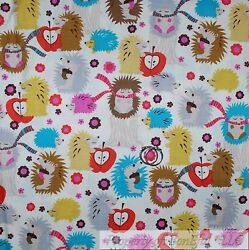 BonEful FABRIC FQ Cotton Quilt Hedgehog Brown Pink Flower Fall Acorn Red Apple S