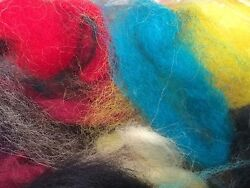 WOOL FELTING FELT SCRAP LEFT OVER FROM PROJECT 1 OZ MULTI COLOR MIX