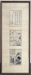 ANTIQUE CHINESE ORIGINAL INK BRUSH LANDSCAPES & CALLIGRAPHY ON SILK  & FABRIC