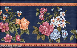 Navy Blue MOIRE Orange Rose Pansy Lily Daffodil Flower Satin Wall paper Border $21.24