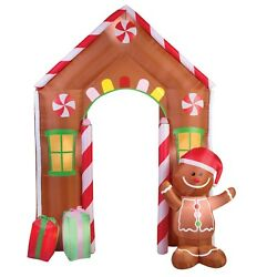 9' Christmas Inflatable Outdoor Decoration Archway Gingerbread House Light Show