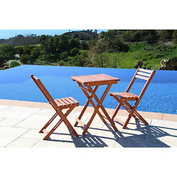 Bistro Wood Dining Set Portable Square Table Folding Patio Chair Outdoor Garden