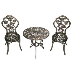 Bronze Rose Bistro Dining Set Table Chair Out Door Garden Patio Antique Seat New