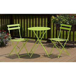 Bright Green Bistro Dining Set 3pc Folding Table Chair Out Door Patio Back Yard