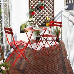 Red Bistro Metal Dining Set 3pc Folding Table Chair Patio Back Yard Out Door New