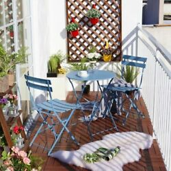 Blue Bistro Metal Dining Set 3pc Folding Table Chair Patio Back Yard Outdoor New