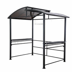 8 x 5 ft  Denver Steel Hardtop Grill Gazebo with Polycarbonate Roof