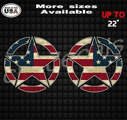 Distressed American Flag Jeep Star Decals For Both Sides  Jeep Wrangler Rubicon