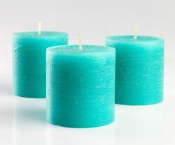 Set of 3 Turquoise Pillar Candles 3quot; x 3quot; Unscented Rustic for Wedding Home $15.95