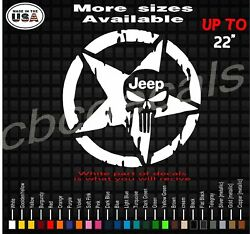 Punisher Military Star Jeep Wrangler American Flag Star Decal Army Decal Sticker