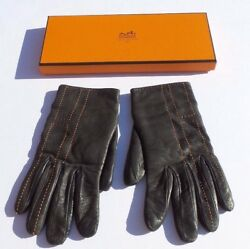 HERMES Chocolate Ebene Brown Leather Orange H Stitched Cashmere Lined Gloves 7.5