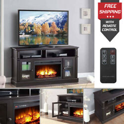 Tv Stand Media Electric Fireplace Wood Entertainment Storage Heater Console PS4