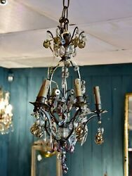 Antique Italian chandelier with Murano glass fruits $2261.00