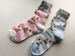 2 PAIRS WOMENS NOVELTY SOCKS * DOGS amp; DOG HOUSES *FUN amp; CUTE * PINK BLUE * NWT $10.99