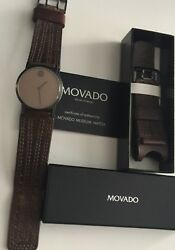 MOVADO Men's  Authentic Museum Dial Piece of Art Watch 38MM-Brown Leather Strap