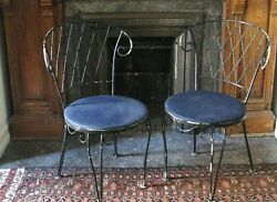 TWO SET Wrought Iron Patio Bistro Chairs Garden Outdoor Furniture Black