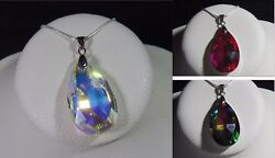 Handmade Faceted Crystal Teardrop Pendant Necklace