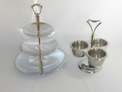 Vintage Mid Century Lot Of 2 KROMEX Serving Pieces Tiered Stand Condiment Server