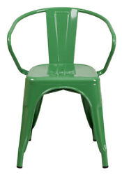 Flash Furniture Green Metal Indoor-Outdoor Chair Arms CH-31270-GN-GG