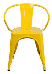 Flash Furniture Yellow Metal Indoor-Outdoor Chair Arms CH-31270-YL-GG