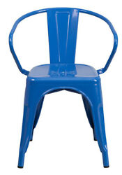 Flash Furniture Blue Metal Indoor-Outdoor Chair Arms CH-31270-BL-GG