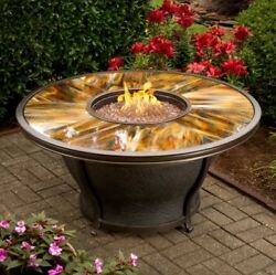 Gas Fire Pit Table Coffee Outdoor Propane Round Large Big Rustic Modern Cover