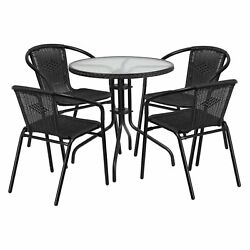 Outdoor Table And Chairs Rattan Patio Furniture Stackable Metal Glass 5 Piece