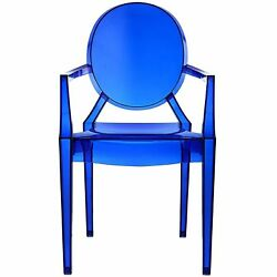Blue Clear Plastic Arm Chair 2 Pack In Out Door Stackable Dining Seat Furniture