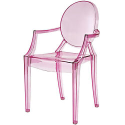 Pink Clear Plastic Arm Chair 1 Piece In Out Door Dining Seat Stackable Furniture