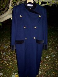 Vintage Christian Dior Women's 10 Cashmere Wool Two Tone Double Breast LONG Coat