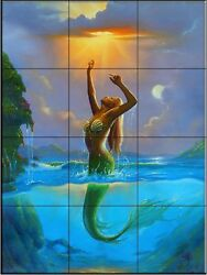 Ceramic Tile Mural - Reach for the Sun - JW- by Jim Warren - Kitchen backsplash
