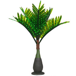 LED Green Lighted Tropical Artificial Realistic Bottle Palm Tree Outdoor Pool