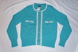 CHANEL cashmere sweater NEW 40 8 10 shirt top cardigan teal green