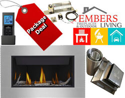 Napoleon BL36 Modern Fireplace Gas 4 Panel SS Surround Wood Ember Full Package