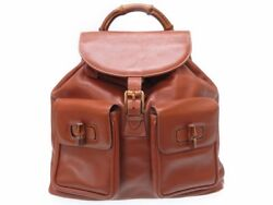 AUTHENTIC GUCCI Rucksack Bamboo Leather Brown Bag 0008