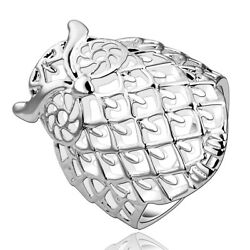 Sterling Silver Plated Ring Plain Cocktail Women#x27;s Owl Animal B537 $5.99