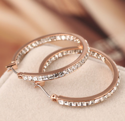 Michael Kors Rose Gold Tone Hoop Swarovski Crystal Pave Earrings w Gift Box