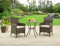 BETTER HOMES AND GARDENS Whitehaven 3-Piece Patio Bistro Set Outdoor Wicker New