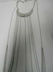 #17377) SILVER TONE & CRYSTAL FULL TORSO NECKLACE