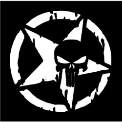DISTRESSED PUNISHER STAR Large Stencil Template Airbrush Paint 8 1 2quot; X 8 1 2quot; $11.95