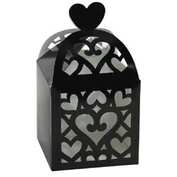 BLACK CUTOUT LANTERN FAVOR BOXES 50 Wedding Baby Shower Party Supplies Loot $16.99