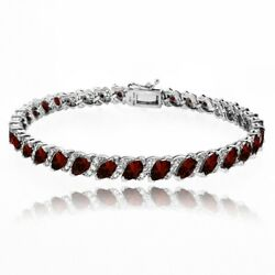 Garnet Tennis Bracelet with White Topaz Accents in Sterling Silver $59.99