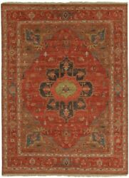9' x 12' Area Rug Rectangle Red Brown Handmade Hand-Knotted Traditional Vintage