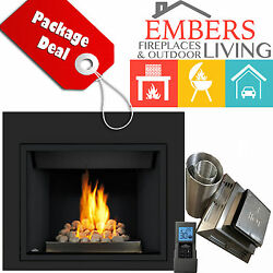 NAPOLEON HD40 REMOTE GAS FIREPLACE ROCK BURNER VENT KIT & REQUIRED SURROUND