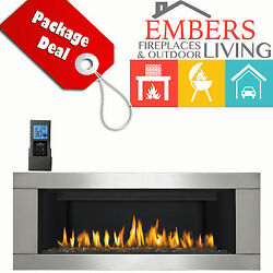 NAPOLEON LHD45 LINEAR GAS FIREPLACE MODERN STAINLESS STEEL SURROUND F60 REMOTE