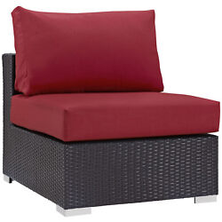 Modern Contemporary Urban Design Outdoor Patio Balcony Lounge Chair Red Rattan