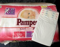 Vintage Pampers Phases Diaper Sz Maxi for Girls Europe Import $25.00