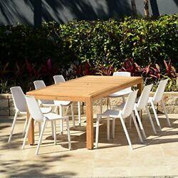 9 Pc Patio Dining Set Table & Chair high Quality TeakWood Patio Dining SetWhite