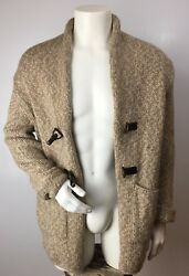 NWT's Piacenza mens open front 100% cashmere thick sweater SzL leather metal